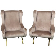Pair of Marco Zanuso Style Modern Lounge Chairs