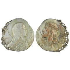Pair Jesus and Mary Plaques Art Nouveau by R Lamourdedieu French Belle Époque
