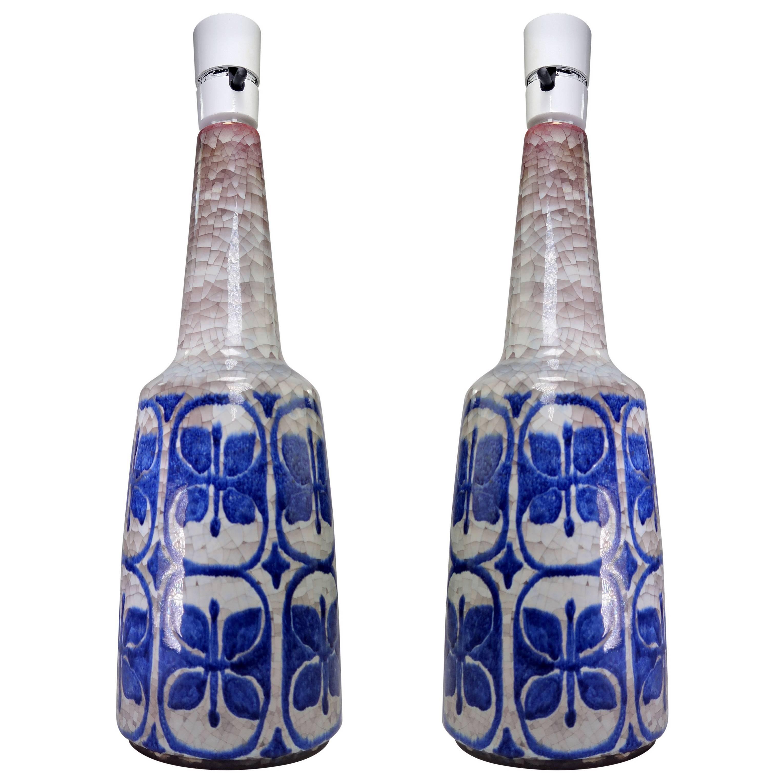 Marianne Starck for Danish Michael Andersen Blue, Grey Butterfly Lamps, 1960s