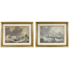 Pair of Marine Gouaches by Anthony Woldorf