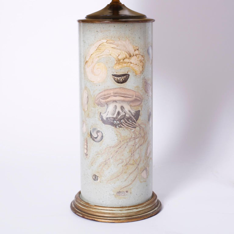 Découpage Pair of Marine Life Themed Table Lamps For Sale
