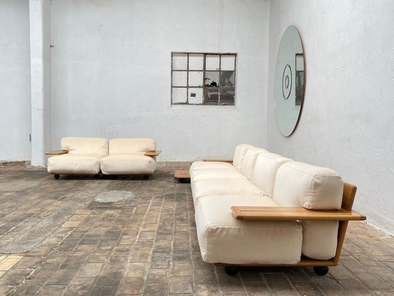 Steel Pair of Mario Bellini 3 Seat 'Pianura' Sofas & Table, Mohair & Solid Walnut 1971 For Sale