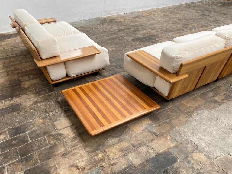 Pair of Mario Bellini 3 Seat 'Pianura' Sofas & Table, Mohair & Solid Walnut 1971 For Sale 1
