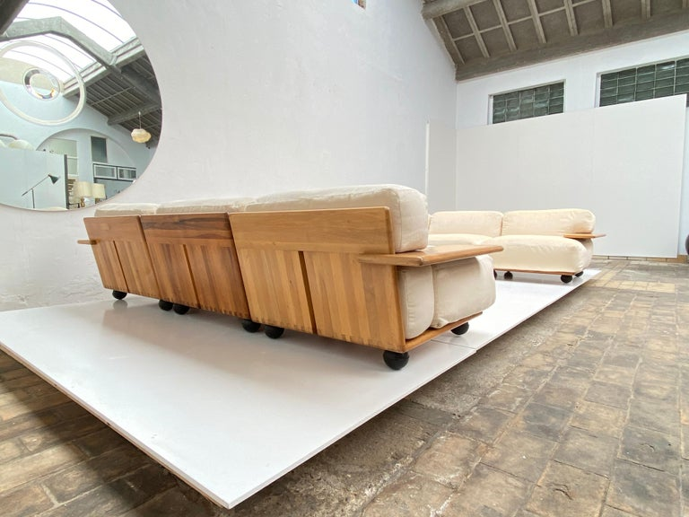 Pair of Mario Bellini 3 Seat 'Pianura' Sofas & Table, Mohair & Solid Walnut 1971 For Sale 6