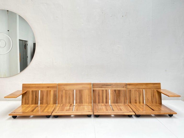 Pair of Mario Bellini 3 Seat 'Pianura' Sofas & Table, Mohair & Solid Walnut 1971 For Sale 7