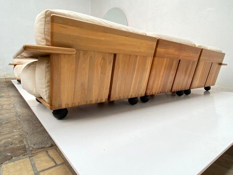 Pair of Mario Bellini 3 Seat 'Pianura' Sofas & Table, Mohair & Solid Walnut 1971 For Sale 9