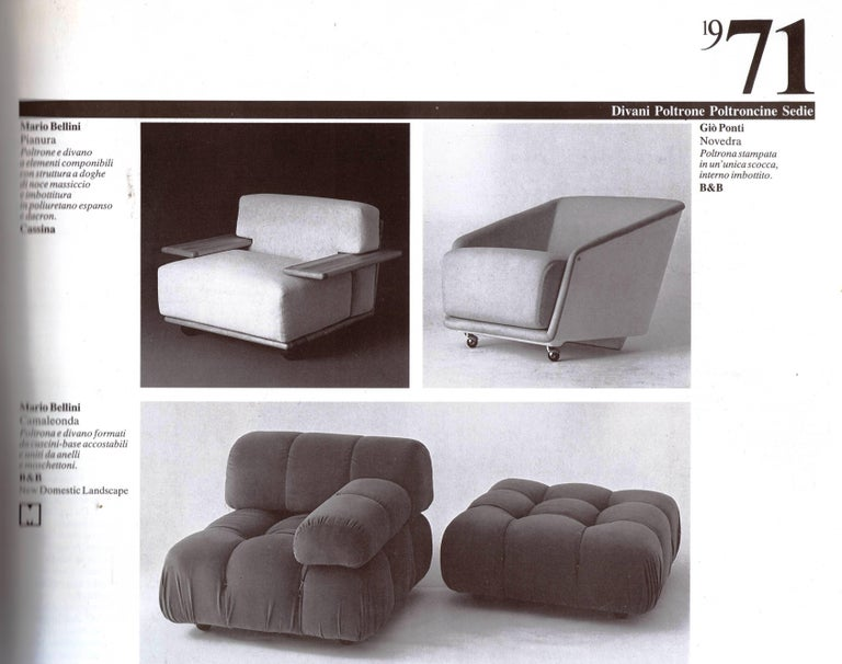 Pair of Mario Bellini 3 Seat 'Pianura' Sofas & Table, Mohair & Solid Walnut 1971 For Sale 12