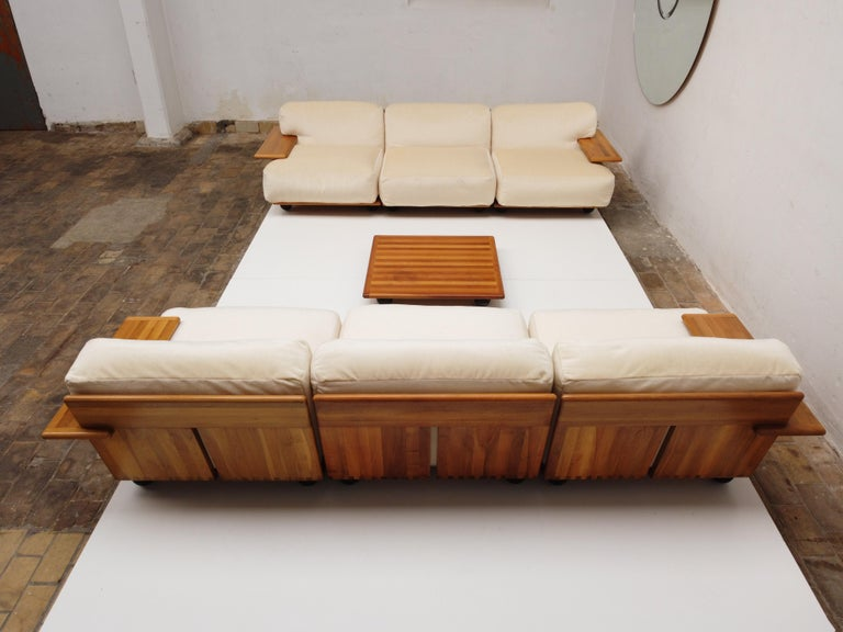 Pair of Mario Bellini 3 Seat 'Pianura' Sofas & Table, Mohair & Solid Walnut 1971 For Sale 2