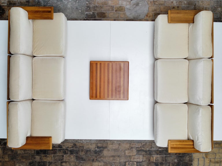 Pair of Mario Bellini 3 Seat 'Pianura' Sofas & Table, Mohair & Solid Walnut 1971 For Sale 3