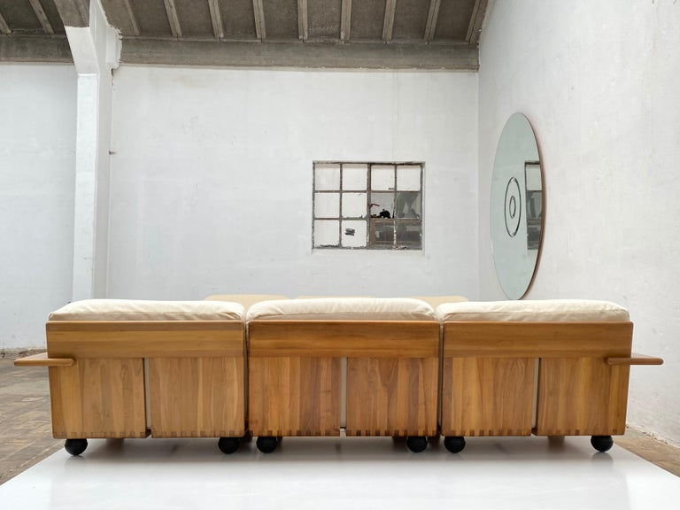 Pair of Mario Bellini 3 Seat 'Pianura' Sofas & Table, Mohair & Solid Walnut 1971 For Sale 4