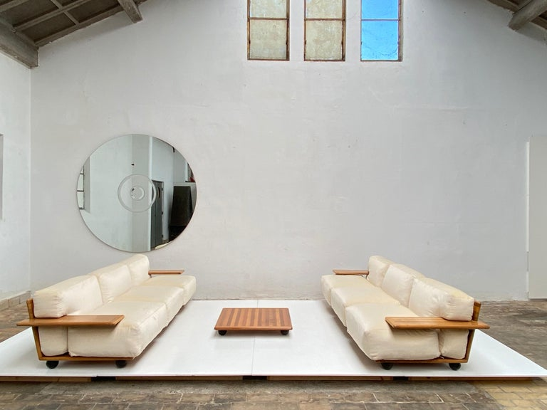 Pair of Mario Bellini 3 Seat 'Pianura' Sofas & Table, Mohair & Solid Walnut 1971 For Sale 5