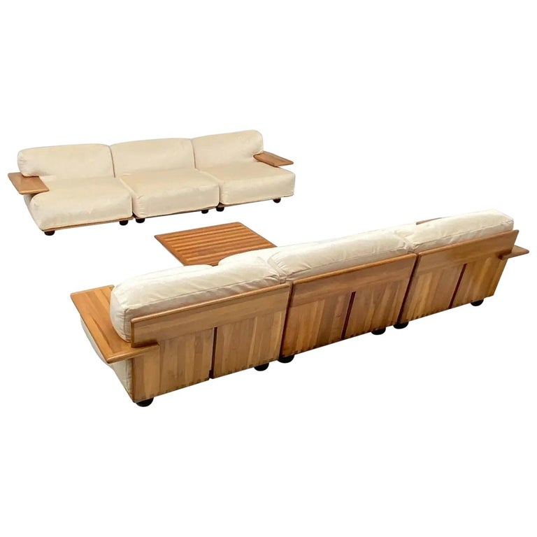 Pair of Mario Bellini 3 Seat 'Pianura' Sofas & Table, Mohair & Solid Walnut 1971 For Sale