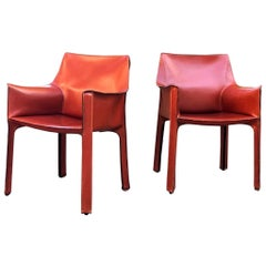 Pair of Mario Bellini Cab Armchairs Cassina in Cognac Leather