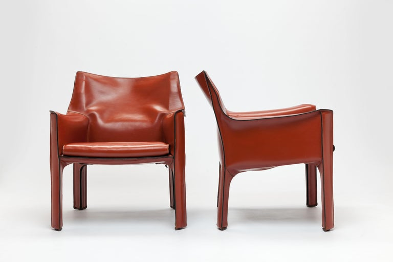 Modern Pair of Mario Bellini CAB Lounge Chairs by Cassina, 1980s For Sale