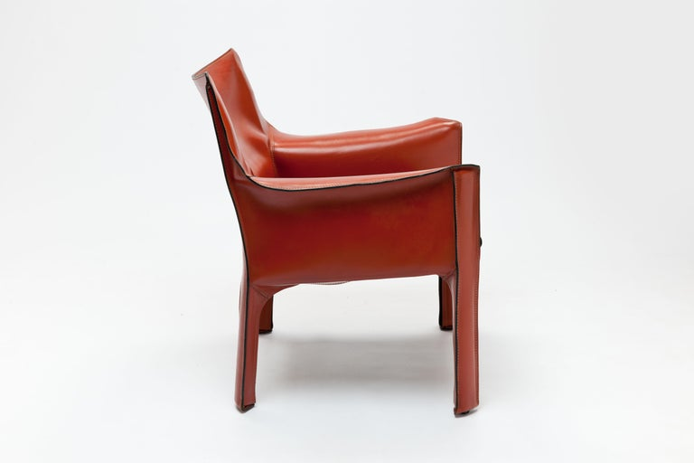 Steel Pair of Mario Bellini CAB Lounge Chairs by Cassina, 1980s For Sale