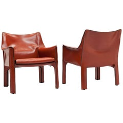 Pair of Mario Bellini CAB Lounge Chairs by Cassina, 1980s