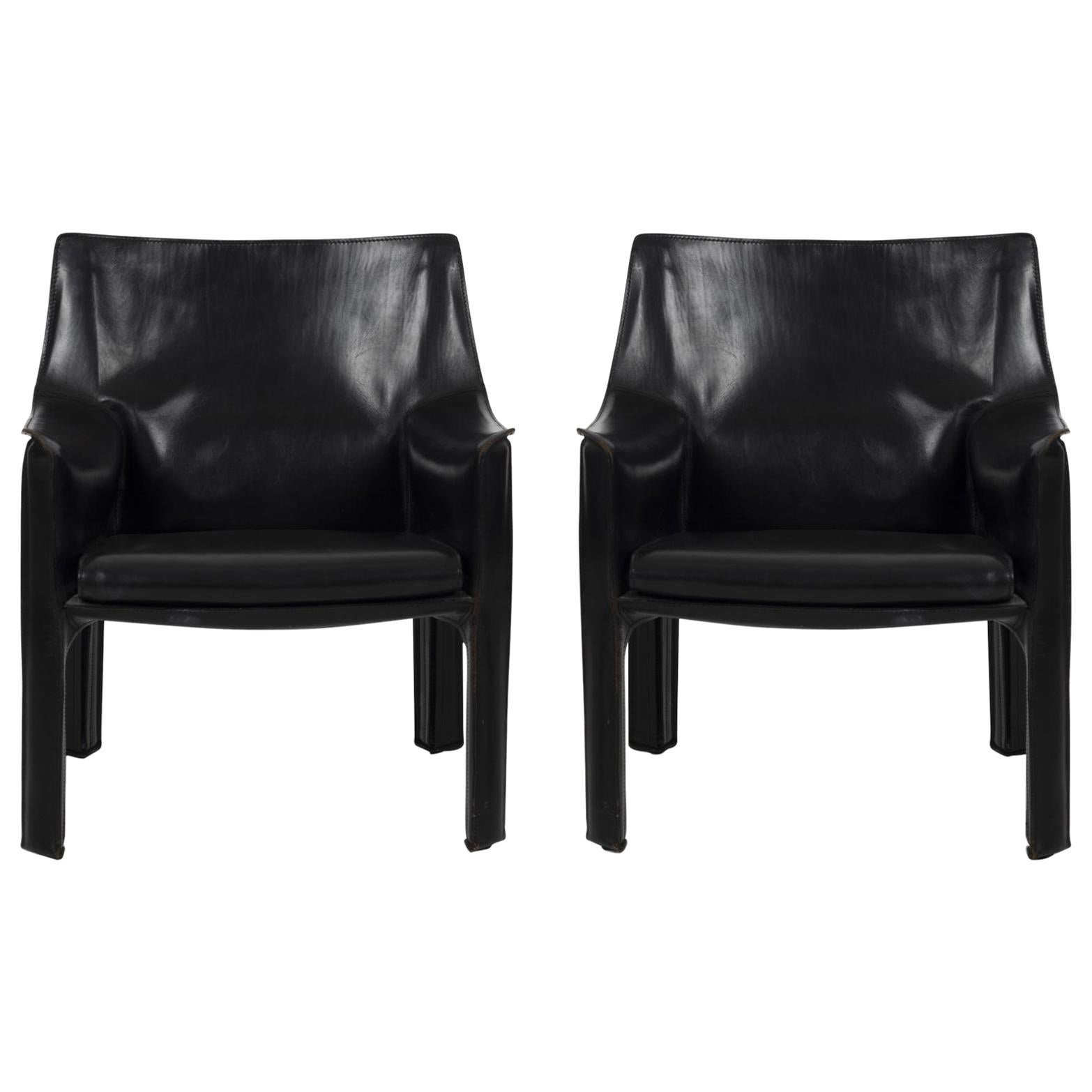 """Pair of Mario Bellini """"Cab"""" Lounge Chairs for Cassina in Nero Leather"""
