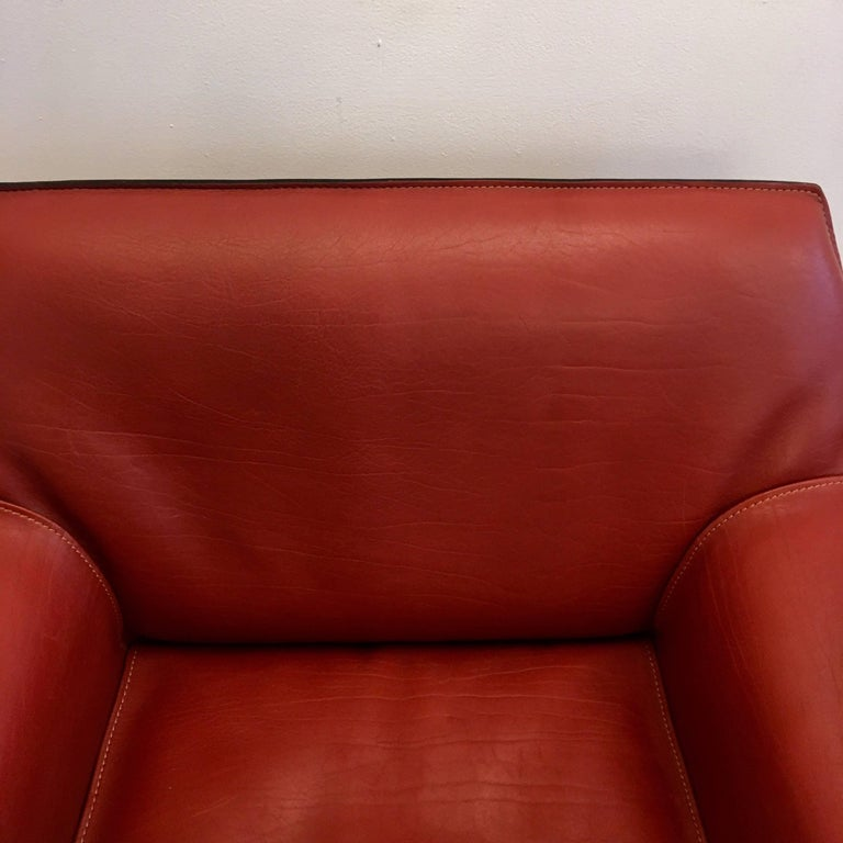 Leather Pair of Mario Bellini Cab Lounge Chairs For Sale