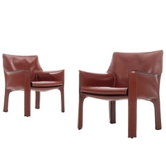 Pair of Mario Bellini Cab Lounge Chairs