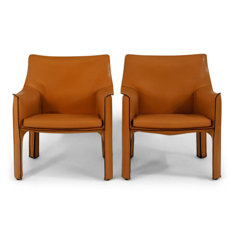 *NOTE* This listing is for a pair of chairs.  We accidentally submitted it as a single in the description and now cannot be edited but it is for a pair of chairs, not for a single.   A beautiful pair of Mario Bellini Cab lounge chairs in exemplary