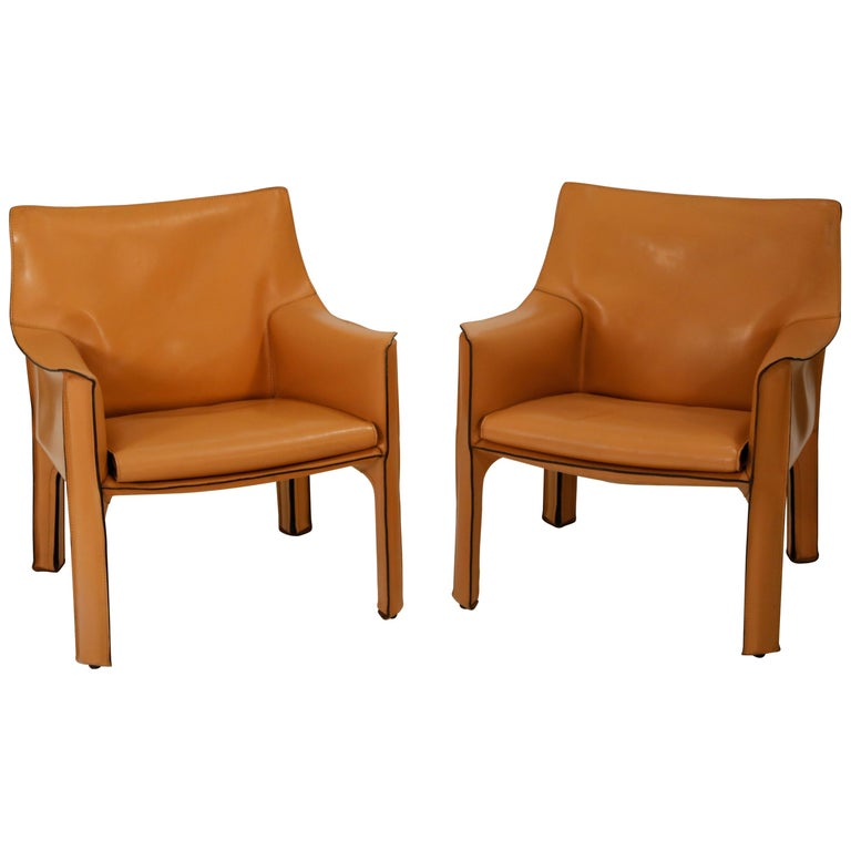 """Pair of Mario Bellini for Cassina """"Cab 414"""" Lounge Chairs, Signed, circa 1970s"""