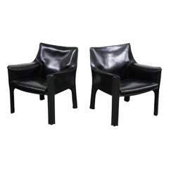"Pair of Mario Bellini for Cassina ""Cab 414"" Lounge Chairs, Signed, circa 1980s"