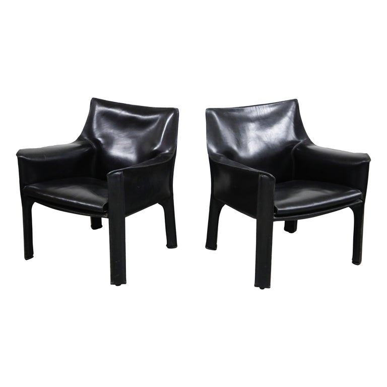"""Pair of Mario Bellini for Cassina """"Cab 414"""" Lounge Chairs, Signed, circa 1980s For Sale"""