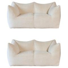 Pair of Mario Bellini Le Bambole Sofas, Upholstered in Alpaca, B&B Italia, 1970s