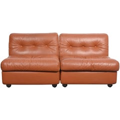 "Pair of Mario Bellini Midcentury ""Amanta"" Cognac Brown Leather Armchairs, 1960s"
