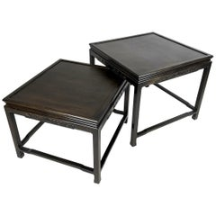 Pair of Mario Buatta for Widdicomb Asian Chinoiserie Ebonized Nesting Tables