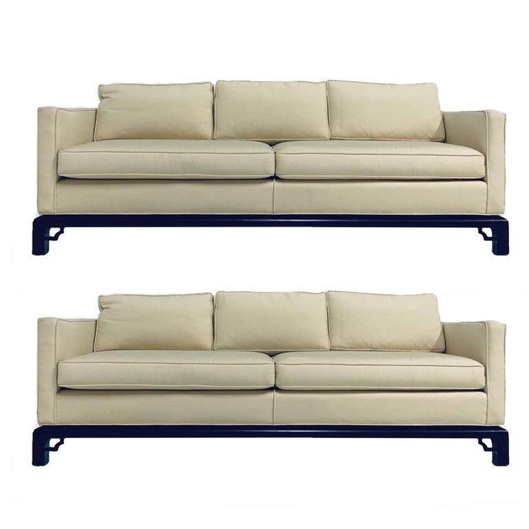 Pair of Mario Buatta for Widdicomb Chinoiserie textured Silk 3 Cushion Sofas