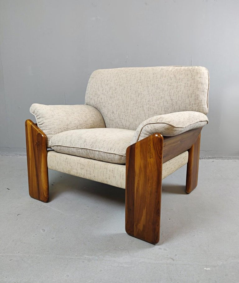 Pair of Mario Marenco armchairs, Italy, 1980s  Original fabrics.