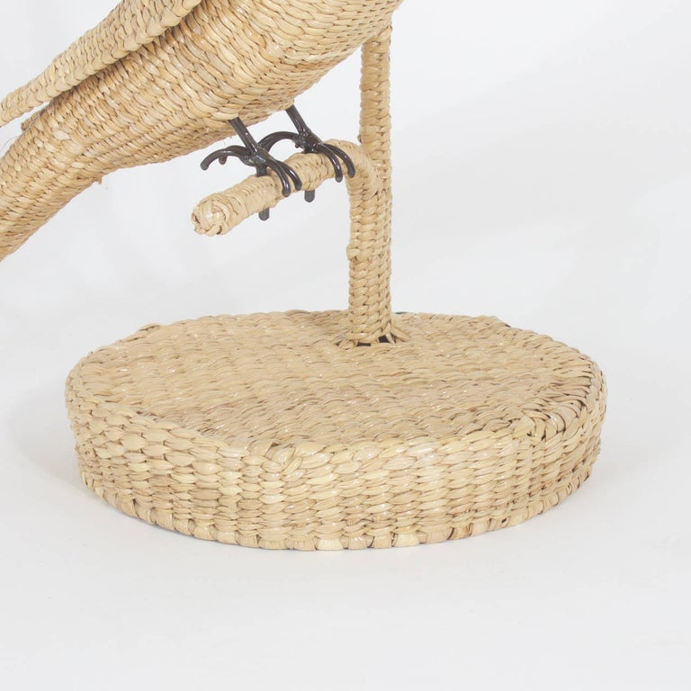 Hand-Woven Pair of Mario Torres Cockatoo Table Lamps For Sale