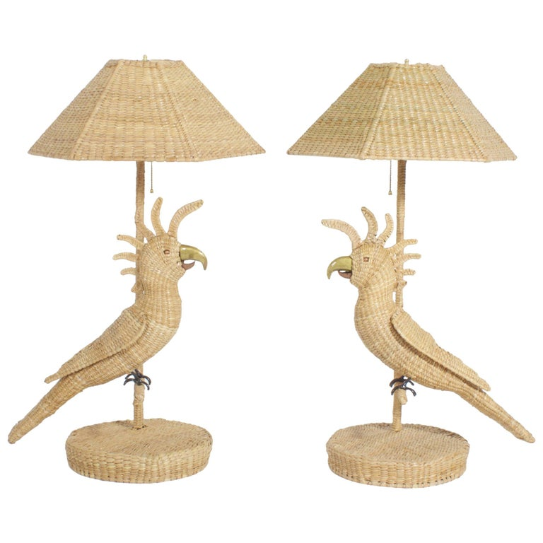 Pair of Mario Torres Cockatoo Table Lamps For Sale