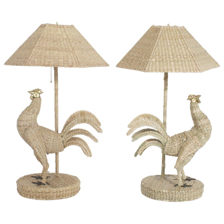 Pair of Mario Torres Rooster Table Lamps