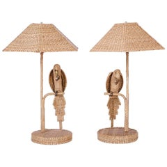 Pair of  Mario Torros Wicker Parrot Table Lamps