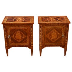 Pair of Marquetry Bedside Tables Cupboards