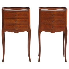 Pair of Marquetry Bedside Tables Louis XV Style