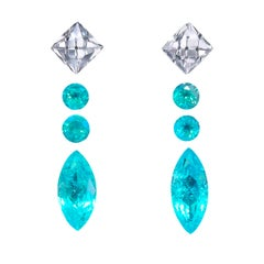 Pair of Marquise-Shape Electric Blue Natural Brazilian Paraiba Tourmaline