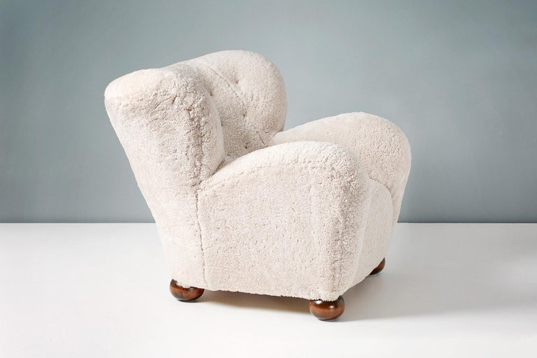 Finnish Pair of Marta Blomstedt 1930s Sheepskin Wing Chairs for The Hotel Aulanko For Sale