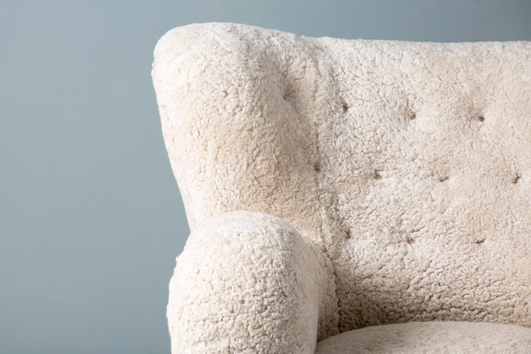 Pair of Marta Blomstedt 1930s Sheepskin Wing Chairs for The Hotel Aulanko For Sale 1
