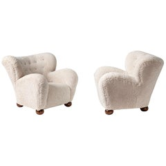Pair of Marta Blomstedt 1930s Sheepskin Wing Chairs for The Hotel Aulanko