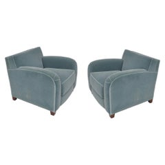 Pair of Martin Brattrud Blue Imperial Mohair Lounge Chairs