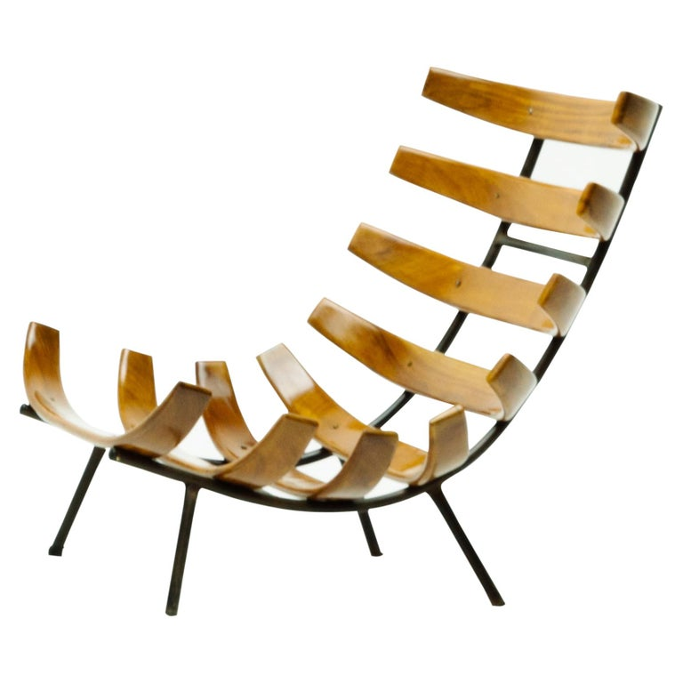 "Pair of Martin Eisler and Carlo Hauner ""Costela"" Lounge Chair, Brazil, 1950s For Sale"