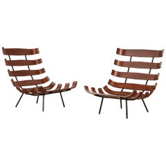 Pair of Martin Eisler and Carlo Hauner Costela Lounge Chairs, Italy, 1950s