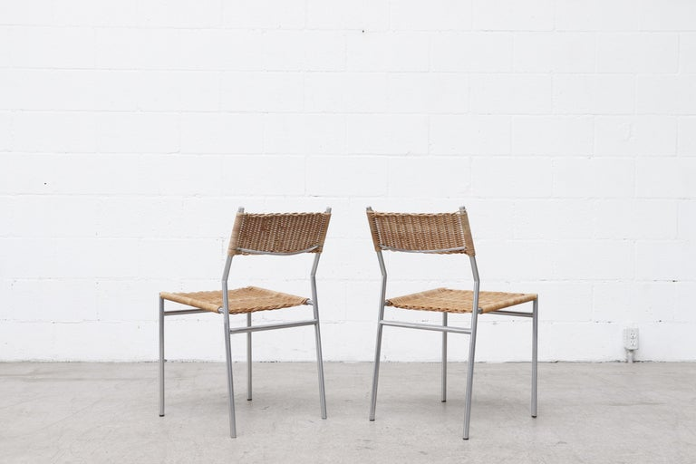 Dutch Pair of Martin Visser Chrome and Wicker Side Chairs for t'Spectrum For Sale