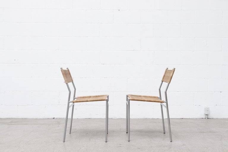 Pair of Martin Visser Chrome and Wicker Side Chairs for t'Spectrum In Good Condition For Sale In Los Angeles, CA
