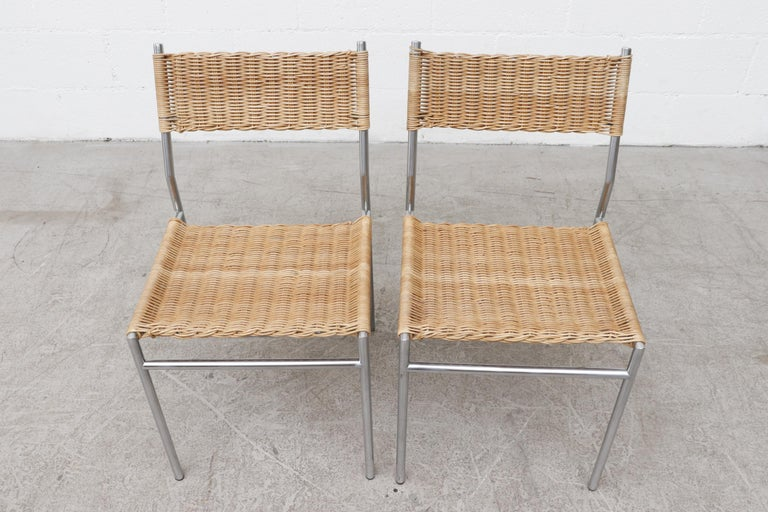 Late 20th Century Pair of Martin Visser Chrome and Wicker Side Chairs for t'Spectrum For Sale