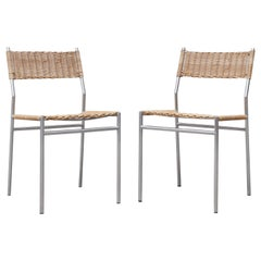 Pair of Martin Visser Chrome and Wicker Side Chairs for t'Spectrum