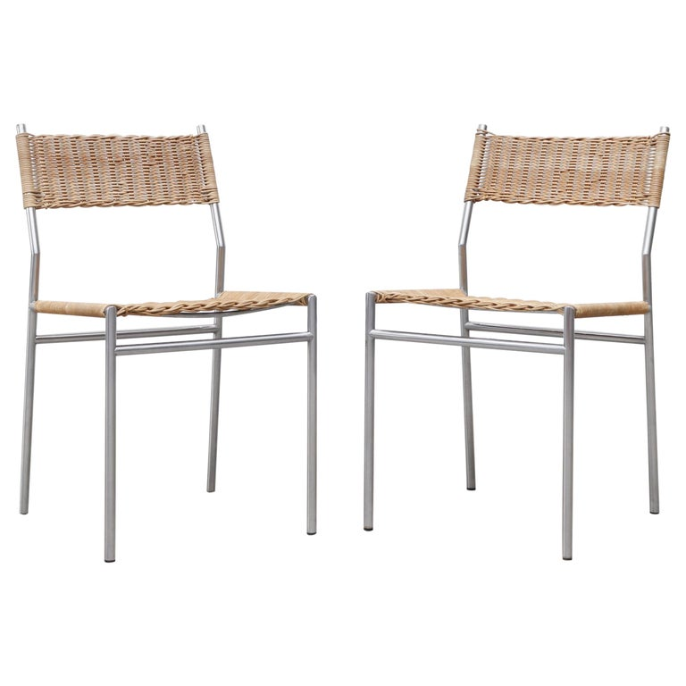 Pair of Martin Visser Chrome and Wicker Side Chairs for t'Spectrum For Sale